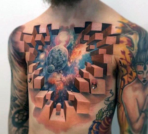 тату 3d-chest иллюзия на груди