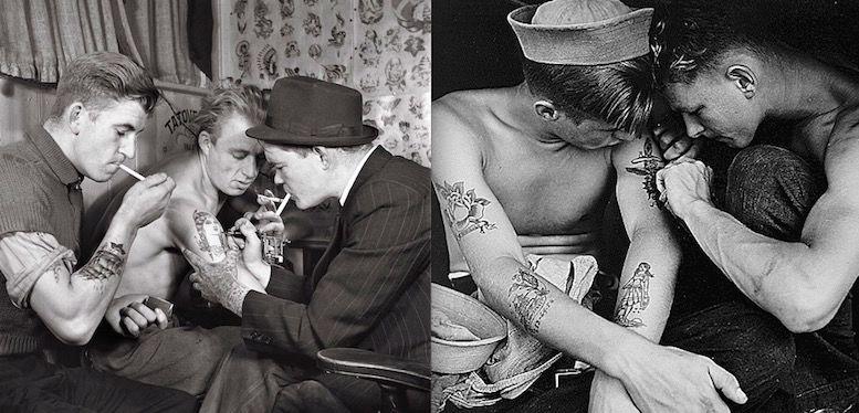 Getting a tattoo in 1942 OldSchool foto tattoo татуировки