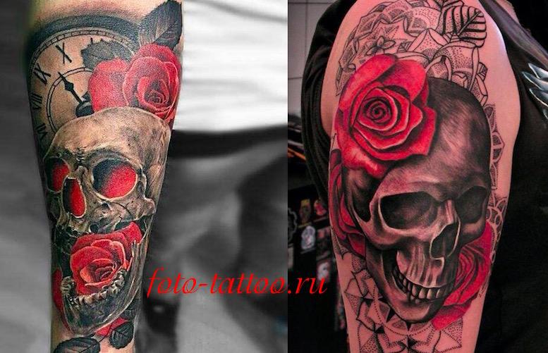 skull rose tattoo foto