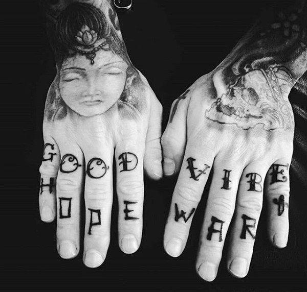 тату текст на пальцах