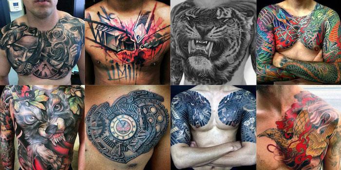мужская тату на груди