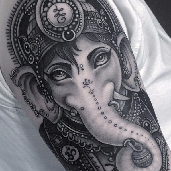 Татуировки Ганеша. Фото. Значение и смысл тату12