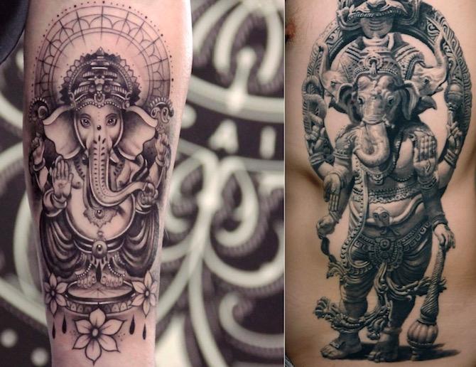Татуировки Ганеша. Фото. Значение и смысл тату3