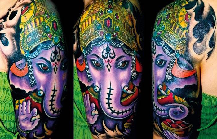 Татуировки Ганеша. Фото. Значение и смысл тату0