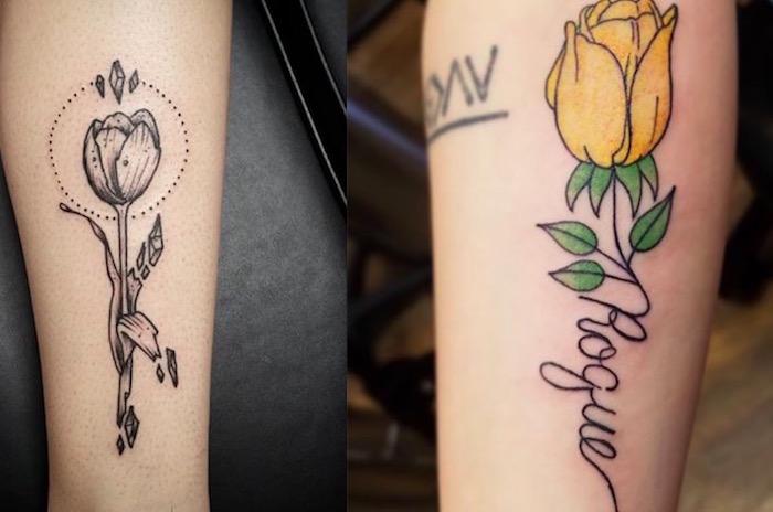 20 красивых тату тюльпан для девушек11